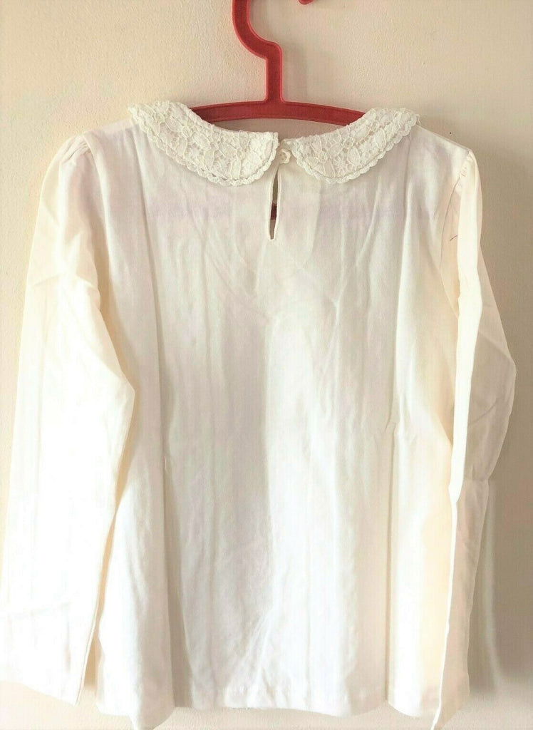 New Girls Cream Lace Collar Long Sleeved Top -  Exstore F&F Tesco - 100% Cotton - Age 6-7 Yrs