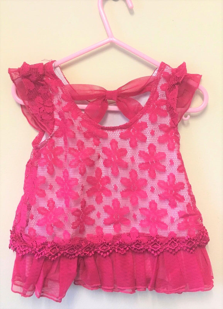 New Baby Girls Lace Bow Top Saris Pink- Exstore Little Lass - Ages 12-24 Months