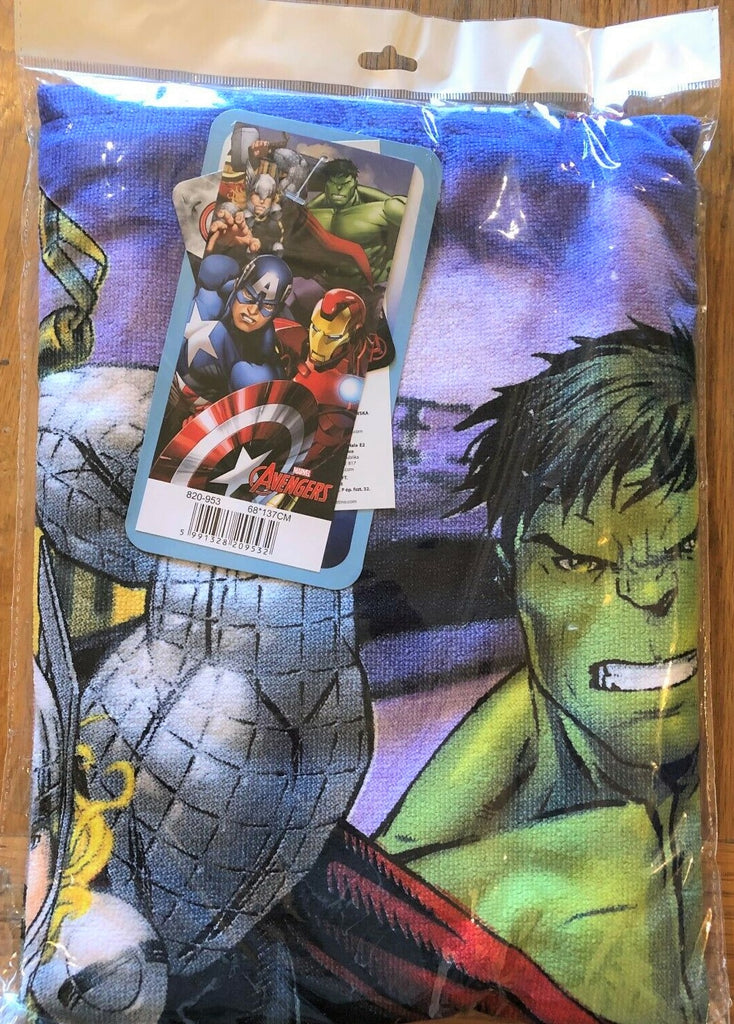 New Boys Marvel Avengers Fast Drying Bath Beach Towel - Lavender - Exstore - 68x137cm Sealed Bag