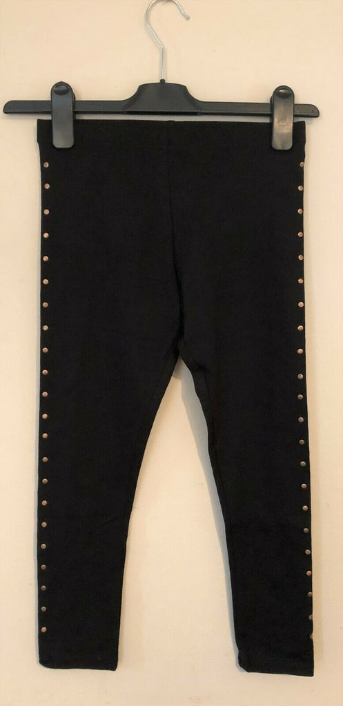 New Girls Gold Studded Black Leggings Exstore- Bagged - Sizes 4-10 Years