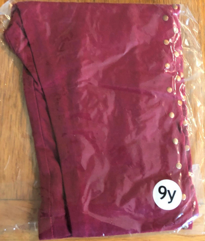 New Girls Maroon Gold Studded Leggings Exstore- Bagged - Sizes 4-11 Years
