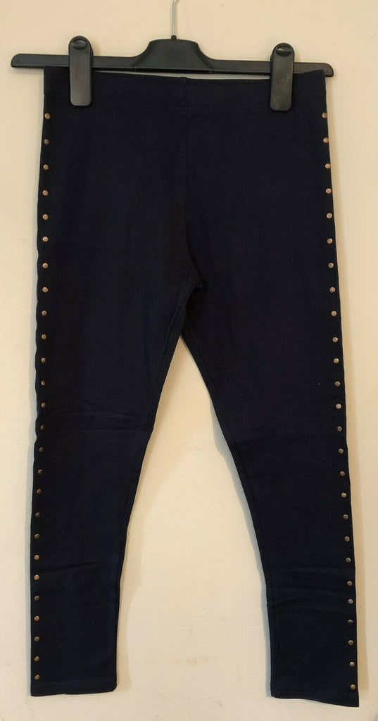 New Girls Navy Blue Gold Studded Leggings Exstore - Bagged - Sizes 2-16 Years