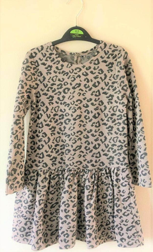 New Girls Leopard Print Skater Dress - Exstore George Asda - Ages 2-6 Years