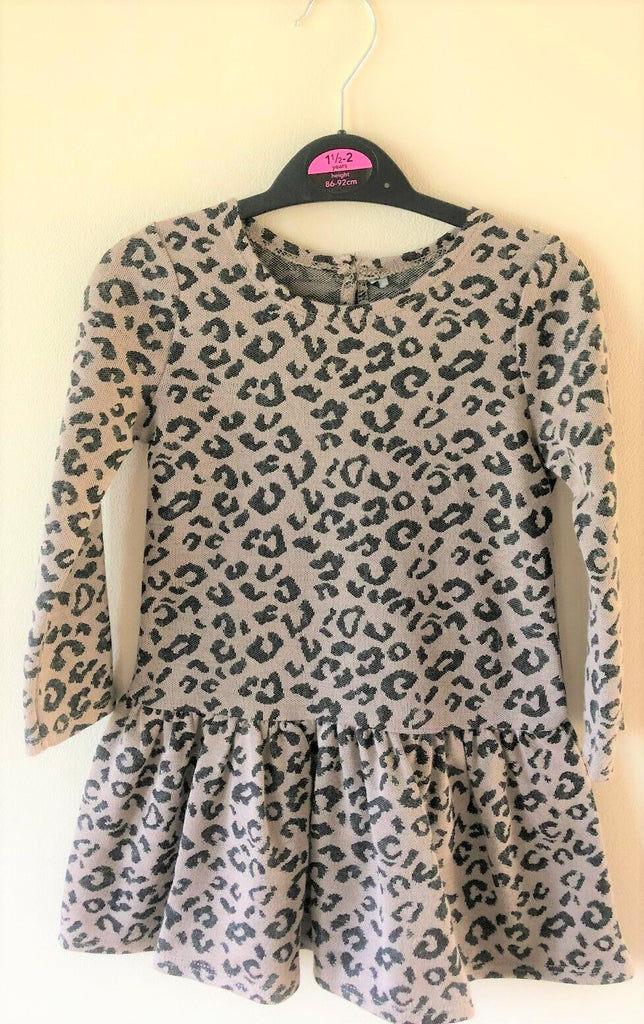 New Girls Leopard Print Skater Dress - Exstore George Asda - Ages 12/24 Months