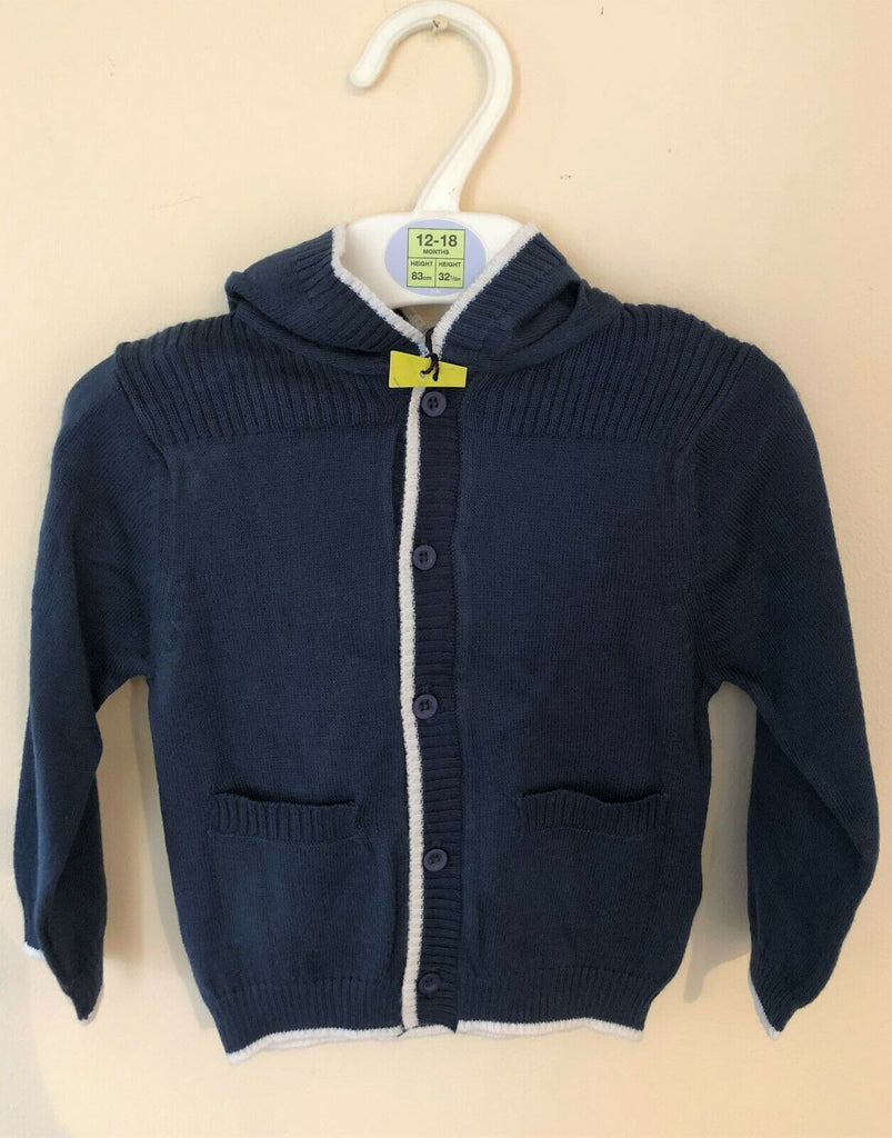 New Baby Boys Lightweight Hooded Cardigan 100% Cotton -  Exstore M&S - Sizes 3-6 M