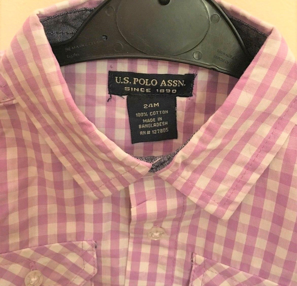 New Boys US Polo Chequed Shirt Turn Up Sleeve Smart Buttons - Lilac - Exstore - Ages 3-6 Yrs
