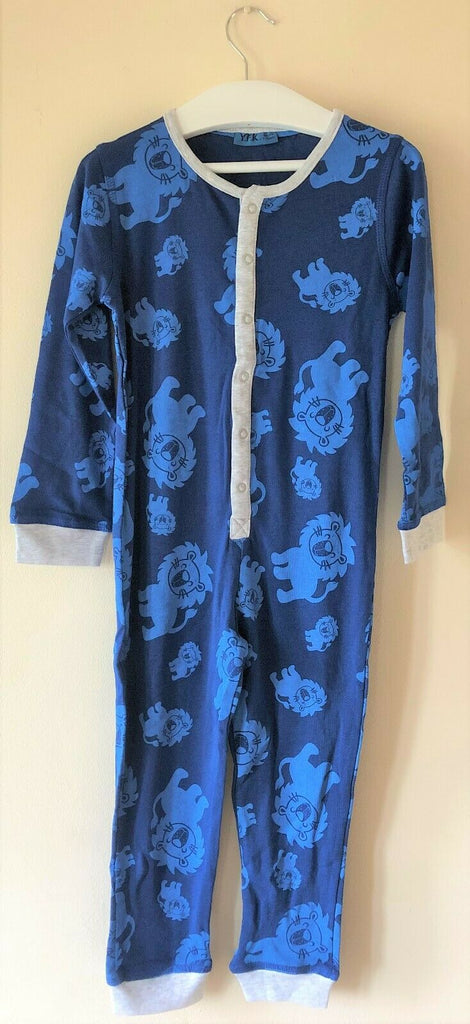 New Boys Lion Jersey Sleepsuit Onesie Blue - Exstore Kiki & Koka - Ages 2-8 Years