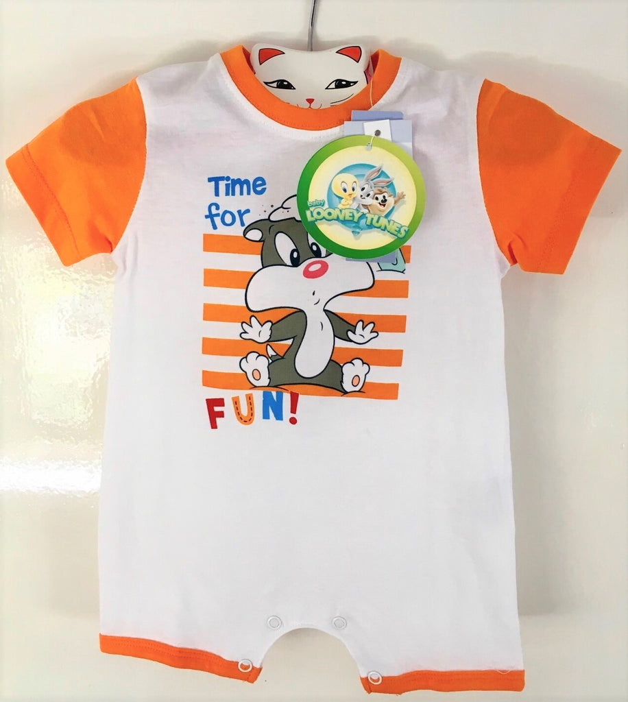 New Baby Boys Looney Tunes Baby Sylvester Playsuit - Exstore 100% Cotton - Age 6 Months