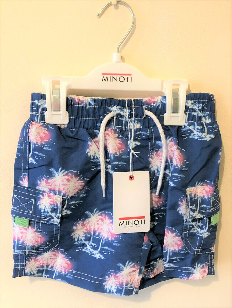 Swimming Shorts - New Exstore Minoti Boys - Dark Blue and Pink Palm Tree Age 2-3 Years