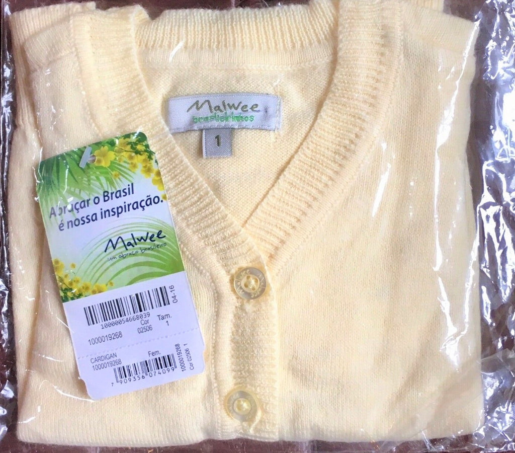 New Baby Girls Lemon Cardigan - Exstore Malwee - 90% Cotton Age 12 Months