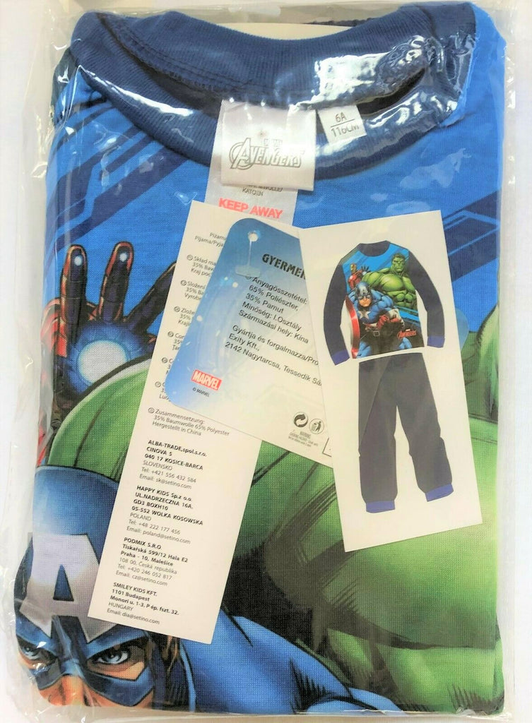 New Boys Marvel Avengers Pyjamas Set Long Sleeved - Navy Blue - 3-8 Yrs