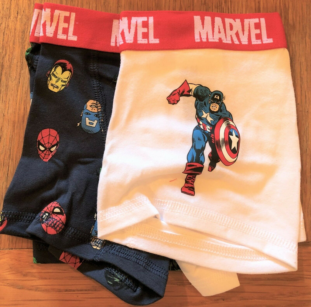 New Boys Marvel Superheroes 2 PK Boxer Shorts Briefs - Exstore H&M - Sizes 2-10Yrs