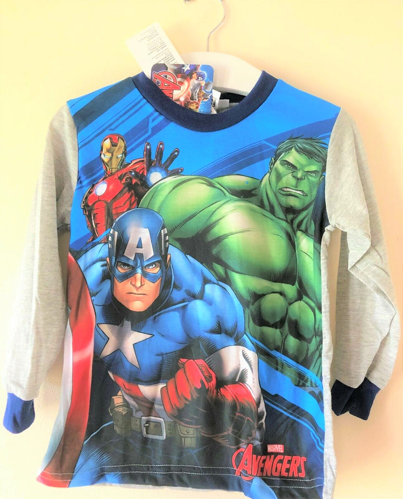 New Boys Marvel Avengers Pyjamas Set Long Sleeved - Marl Grey - 3-8 Yrs