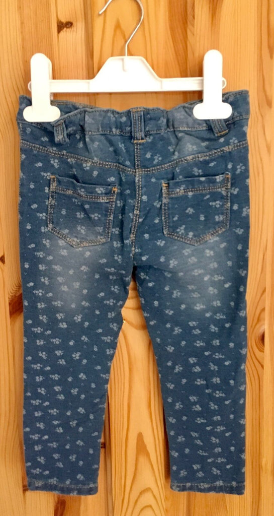 New Girls Floral Denim Jeggings Washed Blue - Exstore Matalan - Sizes 2-4 Years