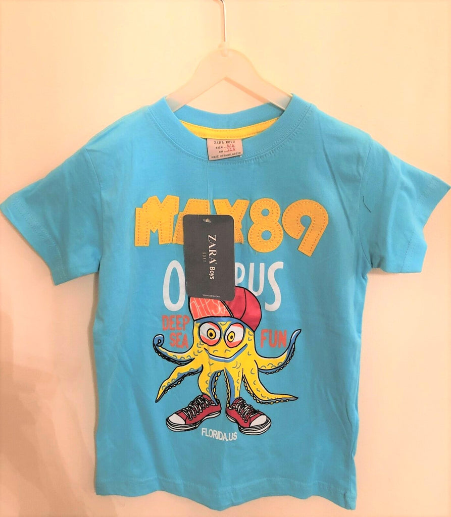 New Boys Max 89 Octopus Tshirt - Exstore Zara - 100% Cotton - Size 5 Years