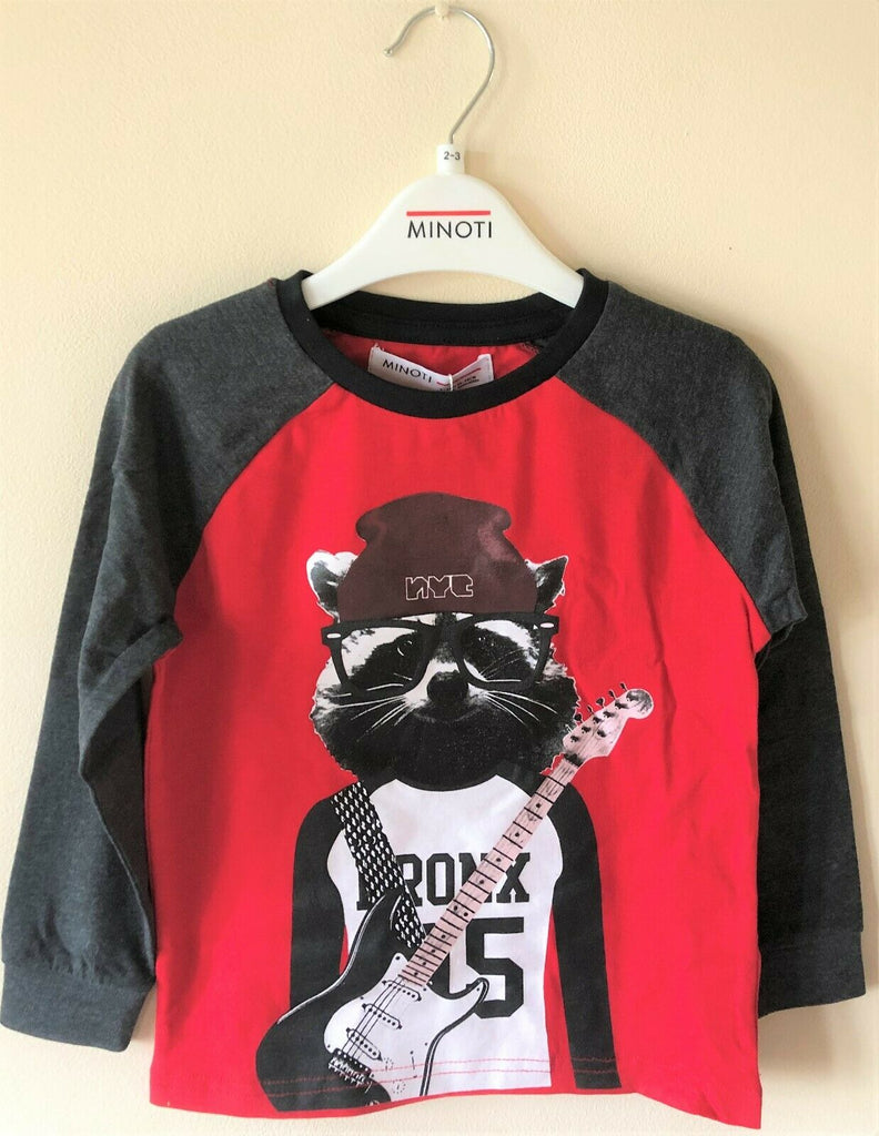 New Boys Meerkat Rocker Long Sleeved Top - Exstore Minoti - Age 2-3 Years
