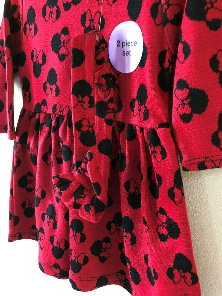 New Girls Dress & Headband Minnie Mouse- Exstore Hightstreet - Disney -  Red - Ages 2-6 Yr