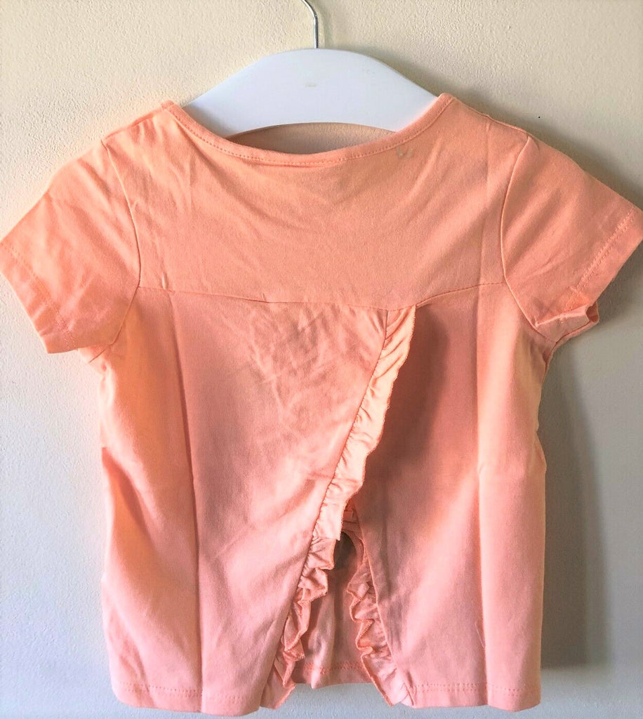 New Girls Minnie Mouse Peach Frilled Tshirt - Exstore Disney - 100% Cotton - Age 3 4 5 8 Y