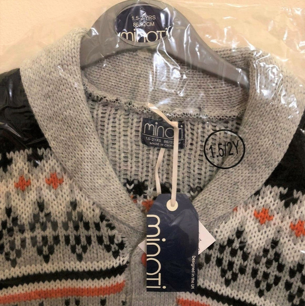 New Boys Chunky Knit Winter Christmas Cardigan Grey Orange - Exstore Minoti - Ages 12-24 Months