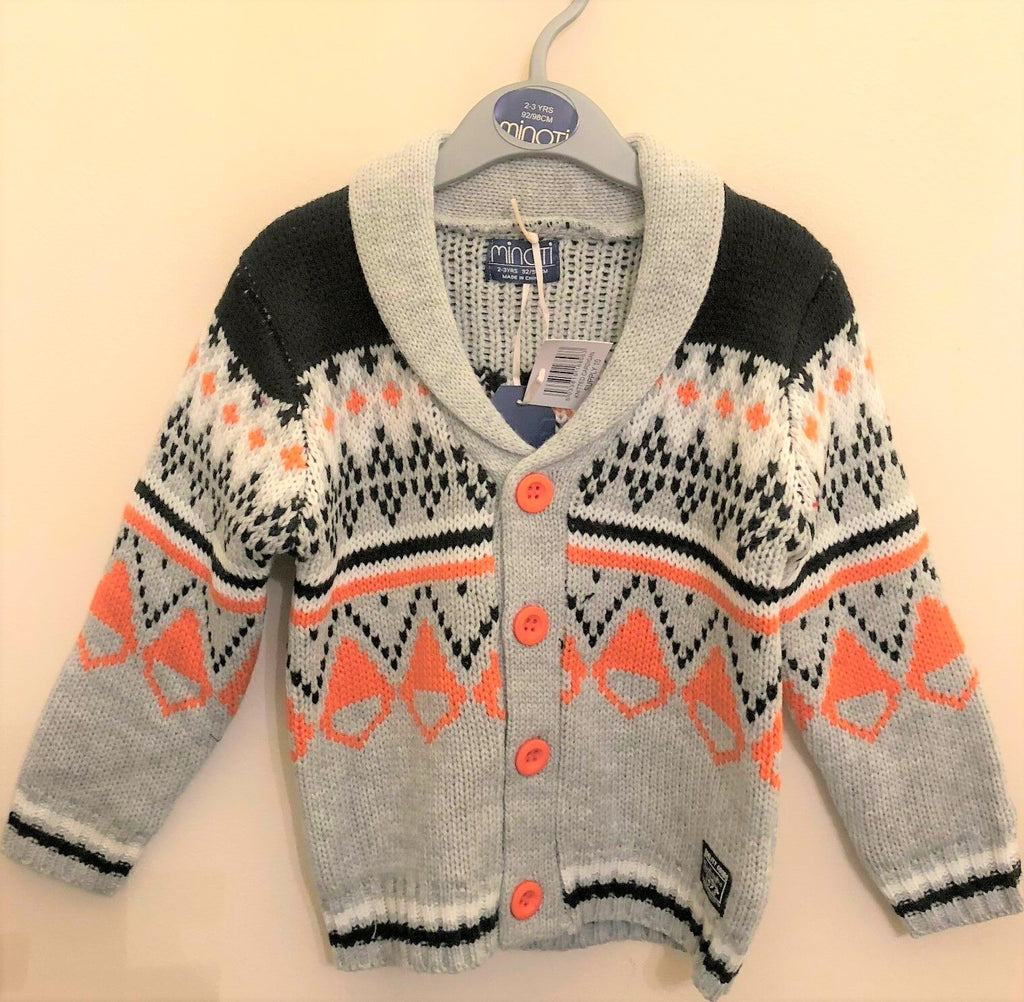 New Boys Chunky Knit Winter Christmas Cardigan Grey Orange - Exstore Minoti - Ages 2-4 Y