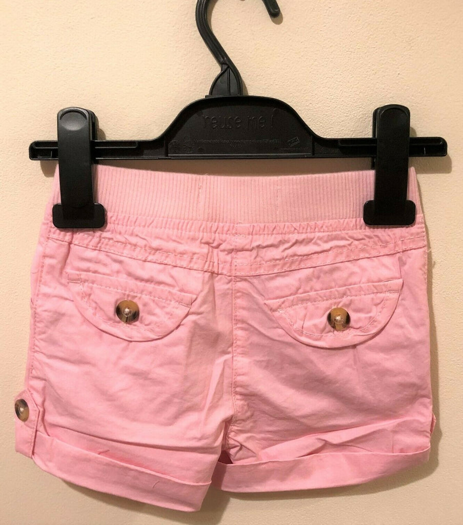 New Baby Girls Turn Up Woven Pink Shorts 100% Cotton - Exstore Minoti - Age 12 & 18M