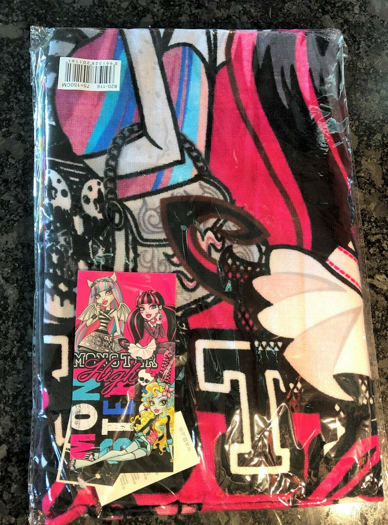New Girls Monster High Beach Bath Towel - Official - Soft Feel 100% Cotton 75x15
