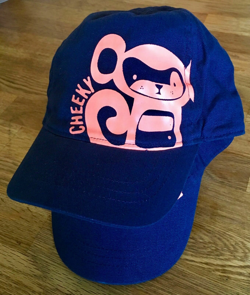 New Next Baby Boys Cap Blue with Neon Cheeky Monkey - Ages 3-12 Months Adjustable