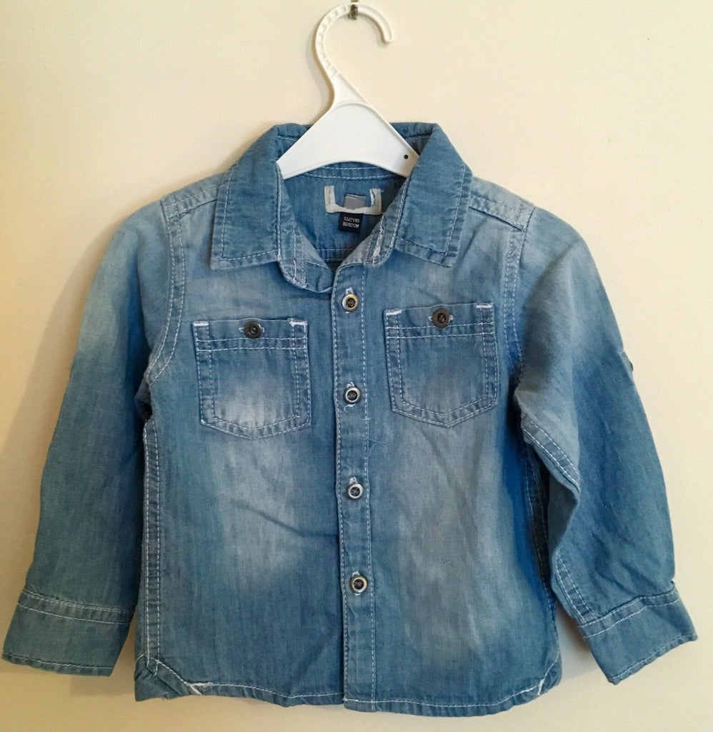 New Baby Boys Blue Denim Shirt-  Exstore Highstreet - 100% Cotton - Size 12-24 Months