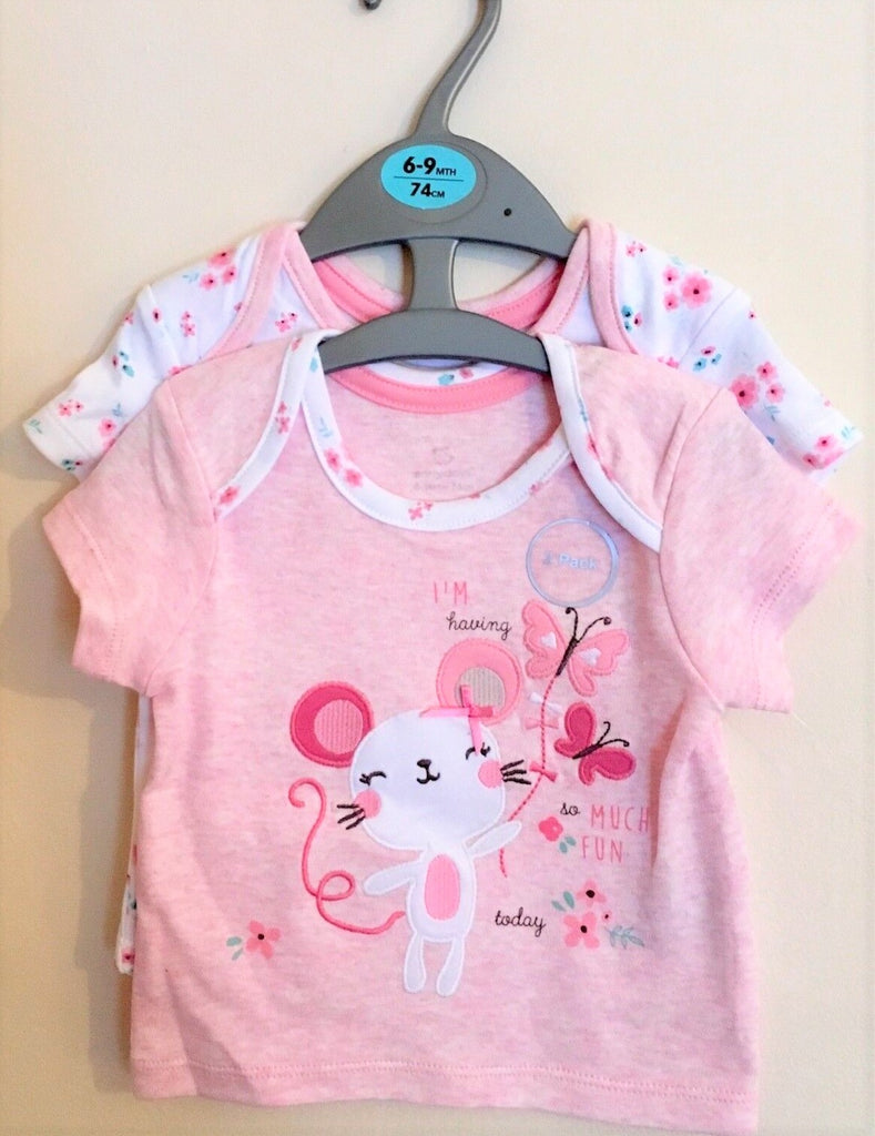 New Baby Girls 2 Pc Appliqué Tshirts Pink Mouse - Exstore Primark - Sizes NB-12 Mnth