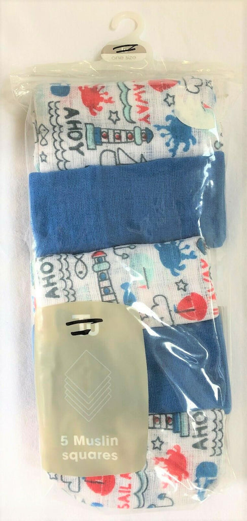 New Exstore TU Tesco Muslin Squares Nautical Design 5 Pack 100% Cotton