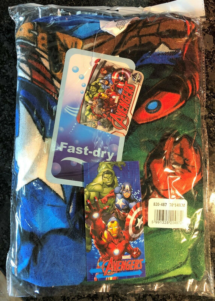 New Boys Marvel Avengers Beach/Bath Towel - Official - Fast Dry Soft Feel 70x140