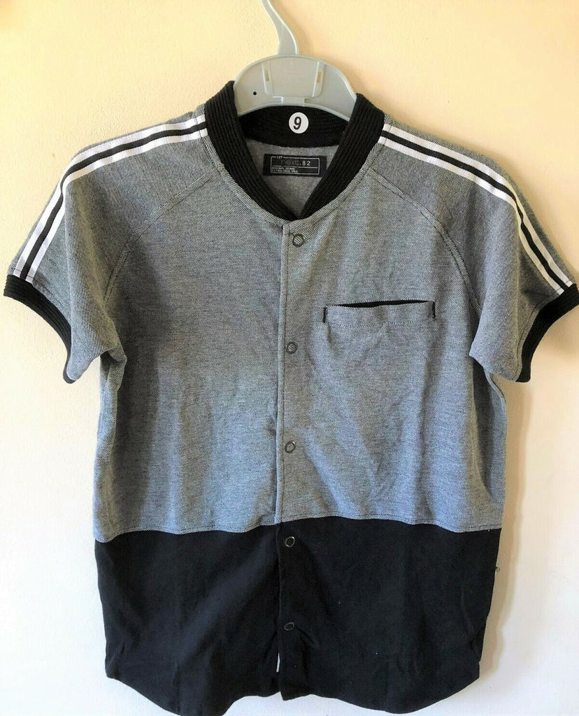 New Boys Next Grandad Collar Polo Shirt Black - Exstore - 100% Cotton - Size 8-9 Yrs