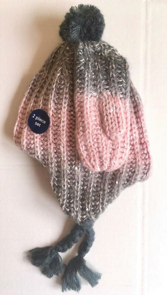 New Girls Ombré Sequin 2 Pc Hat & Mitten Set Pink Grey - Exstore Mothercare - Ages 1-3 Yrs
