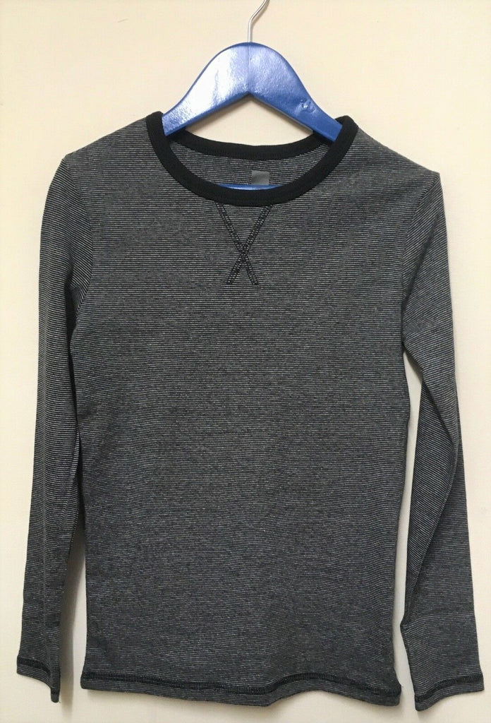 New Boys Organic Cotton Long Sleeved Top - Black Stripe - Exstore - Age 8-9 Yrs