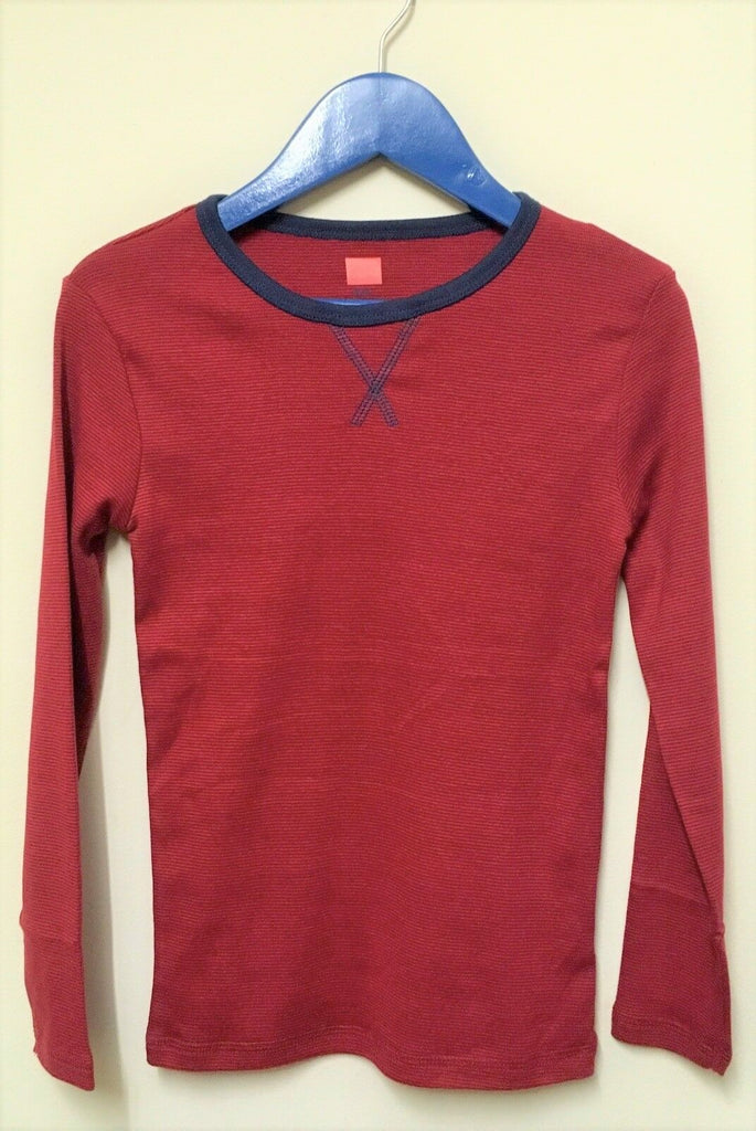New Boys Organic Cotton Long Sleeved Top - Carmine Red Stripe - Exstore - Age 8-9 Yrs
