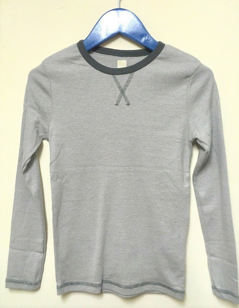 New Boys Organic Cotton Long Sleeved Top - Grey Stripe - Exstore - Age 8-9 Yrs