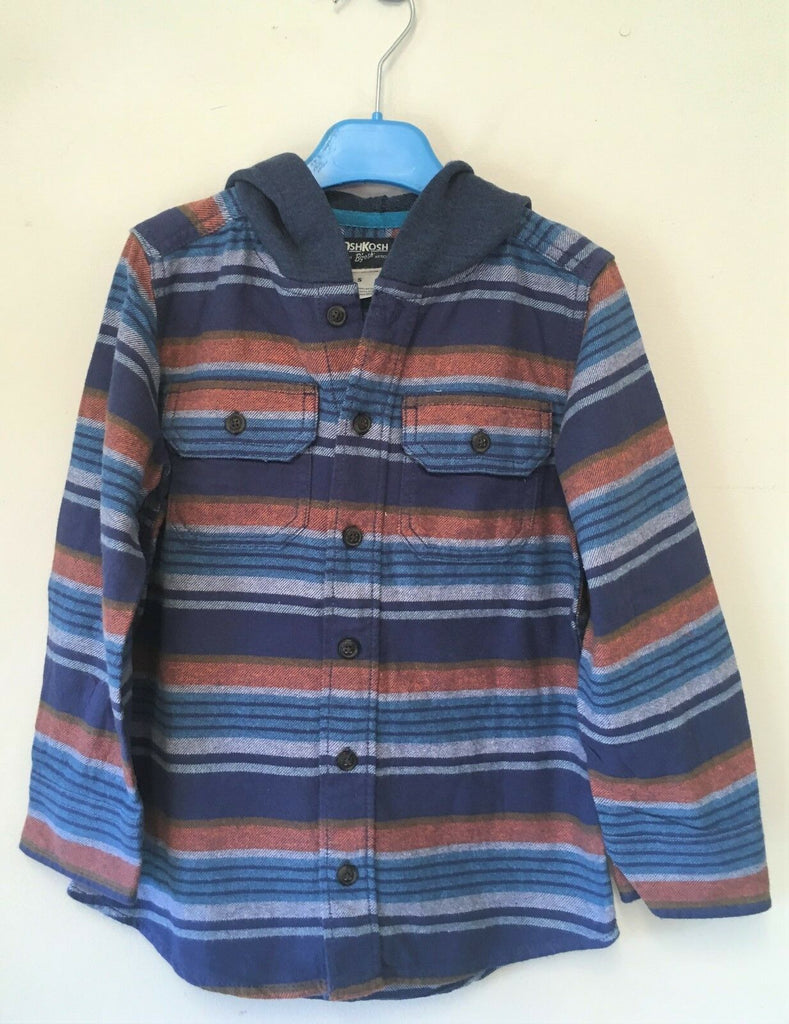 Boys Hooded Checked Shirt - Exstore OshKosh BGosh - 100% Cotton - Age 14 Yrs