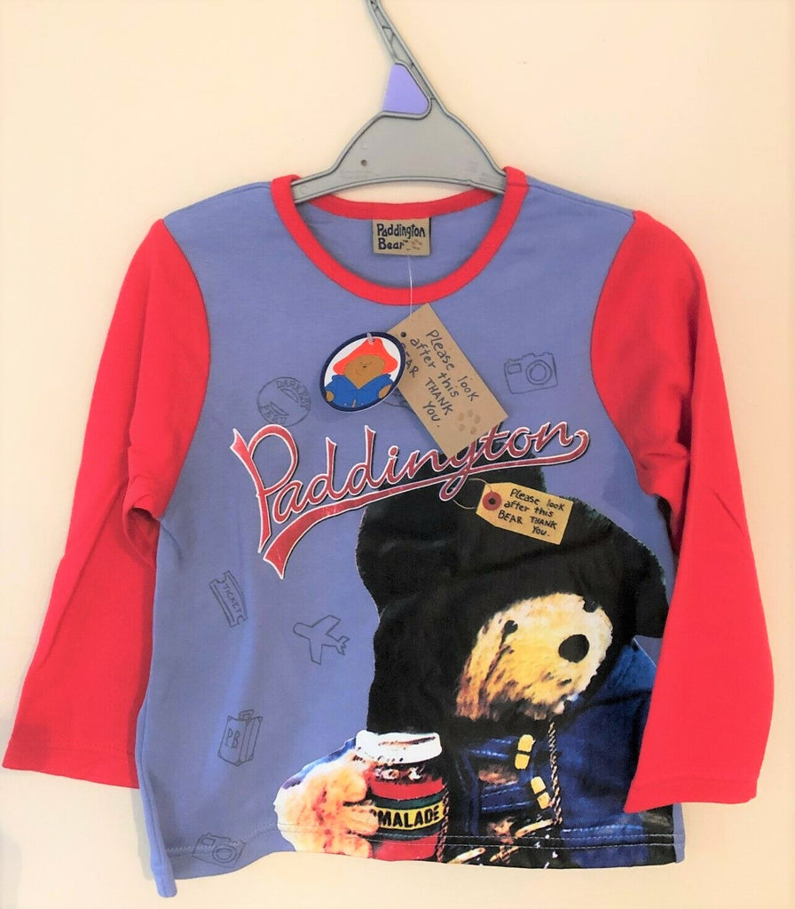 New Boys Paddington Bear Marmalade Long Sleeved Top Bagged - Exstore - Size 2-3 Years