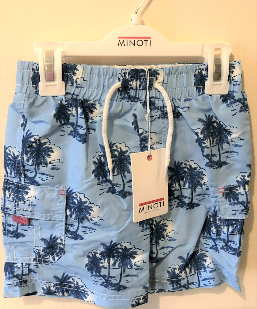 New Boys Swimming Shorts Pale Blue Palm Tree - Exstore Minoti - Age 6-24 Months