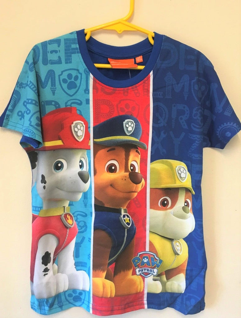 New Boys Paw Patrol 3 Design Tshirt Marshall Chase Rubble - Exstore Official - Ages 2-6 Yrs