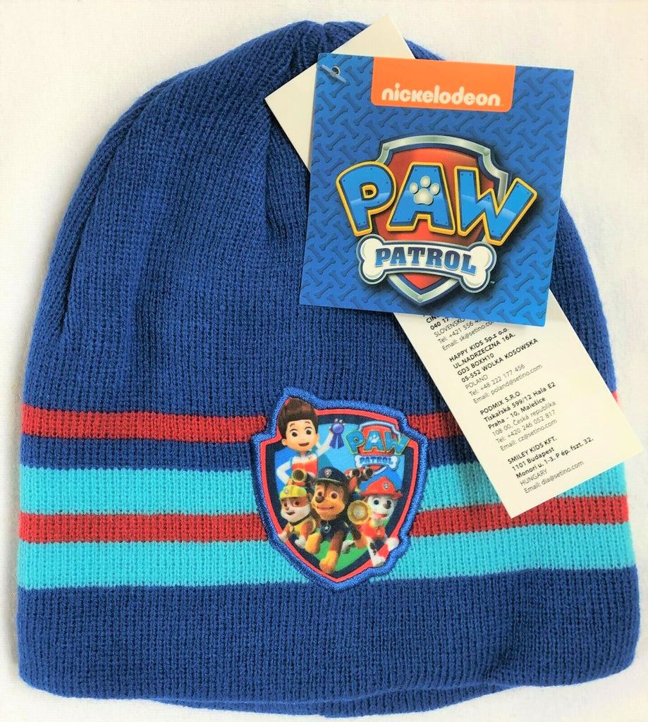 New Boys Paw Patrol Knit Beanie Hat Light Blue & Red - One Size 2-8 Yrs