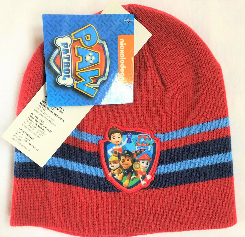 New Boys Paw Patrol Knit Beanie Hat Red - One Size 2-8 Yrs