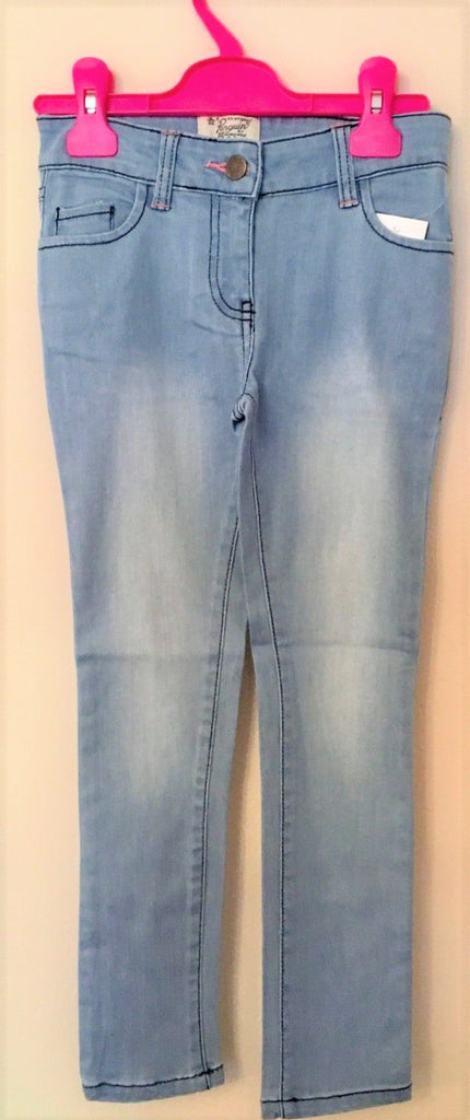 New Girls Penguin Slim Fit Jeans Pale Blue Adjustable Waist - Exstore - Ages 2-5 Yrs