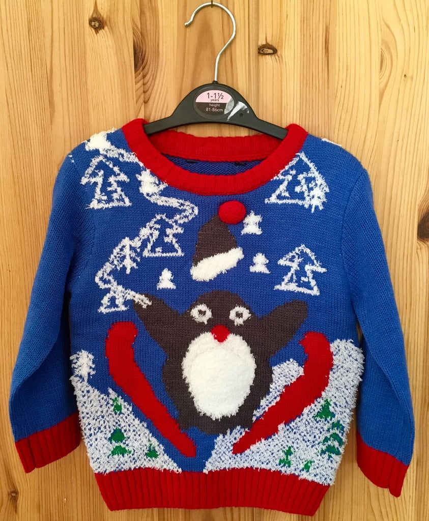 New Baby Boys Christmas Knit Jumper Penguin - Squeaky Belly - Exstore - Sizes 12/18 M