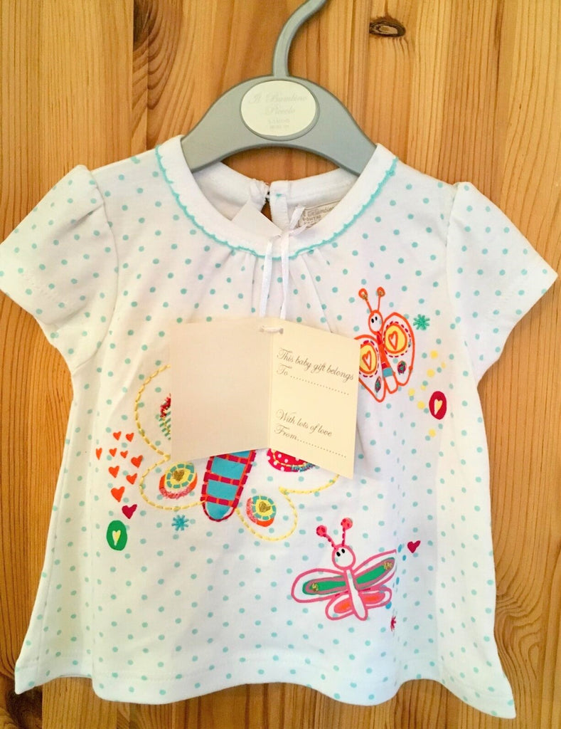 New Baby Girl Tshirt Green/Pink Applique Butterfly - Exstore Bambino Piccolo - Age 3-12 Months