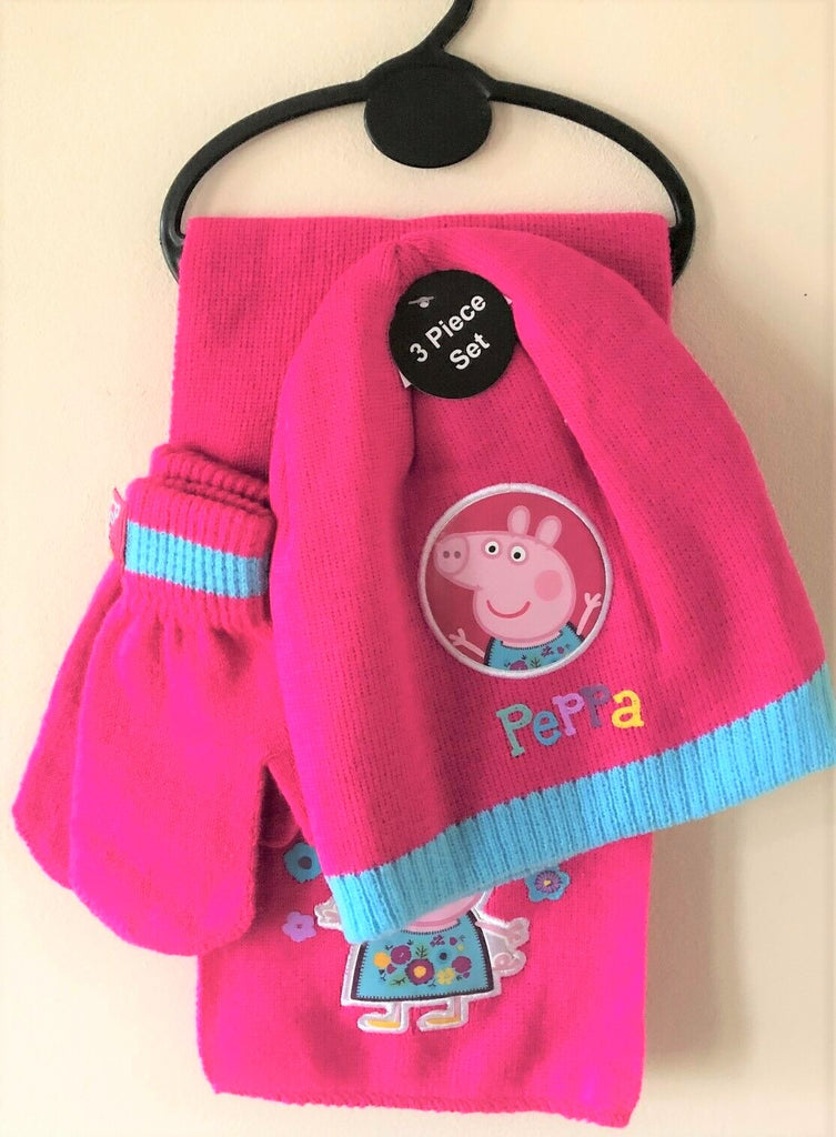 New Girls Peppa Pig Hat Gloves and Scarf Set - Hot Pink - One Size - Ages 2-7 Yrs