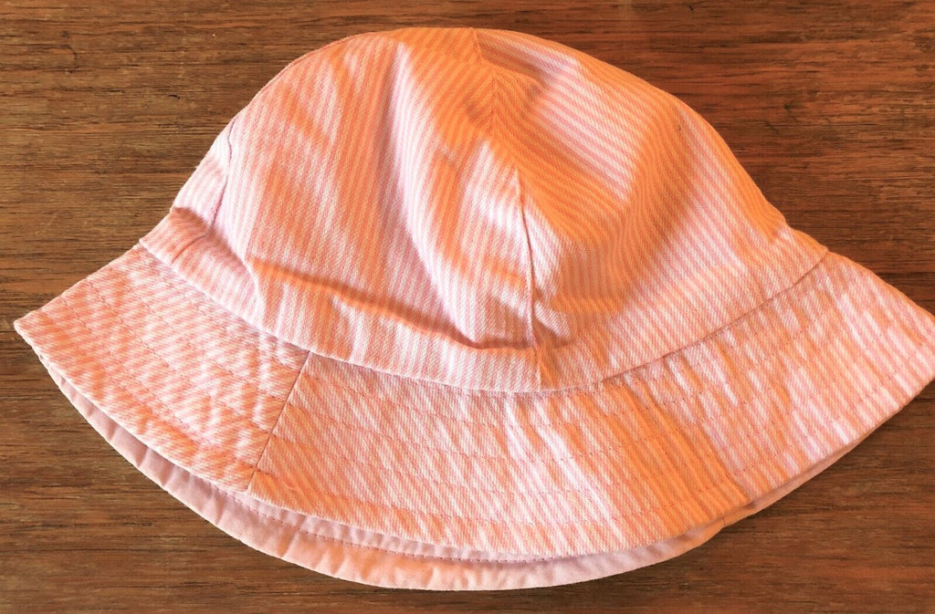 New Exstore Next Girls Pink Pinstripe Fisherman Sun Hat 100% Cotton Age 3-6Yrs