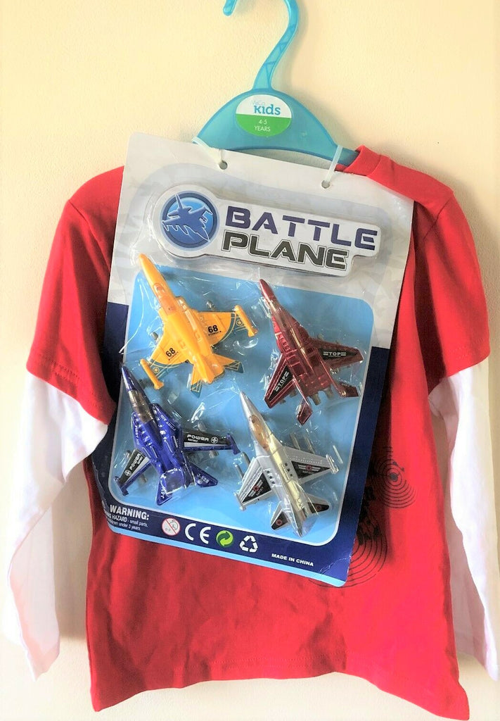 New Boys Battle Planes Top and Gift Set of 4 Aeroplanes - Long Sleeved - Exstore M&Co - Ages 3-8 Yrs