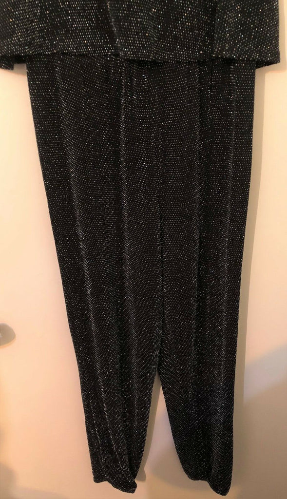 New Black Sparkly Girls Trouser Playsuit - Christmas - Exstore F&F - Age 11/12 Y