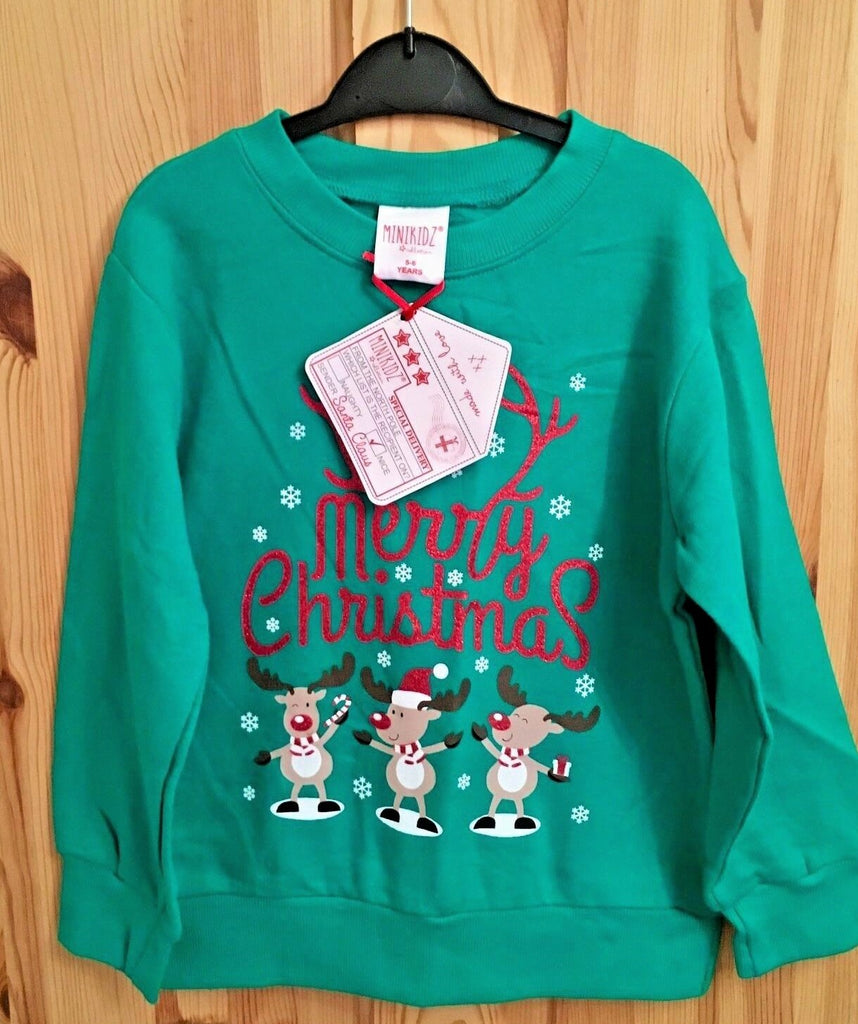 New Kids Christmas Inner Fleece Sweater with North Pole Tag - Exstore Minikidz - Age 5/6 Yrs